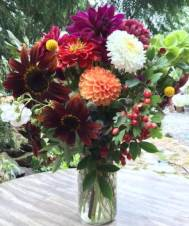 Late Fall quart jar bouquet: sunflowers, dahlias, zinnias, rosehips, bells of ireland